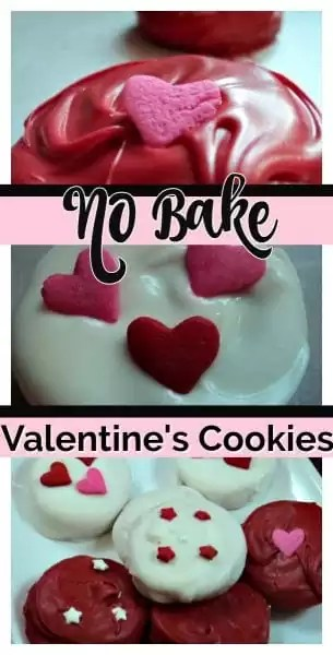 Three versions of Valentine's Day No Bake cookies. Peanut butter cookie sandwiches covered with red and white chocolate decorated with pink and red hearts.