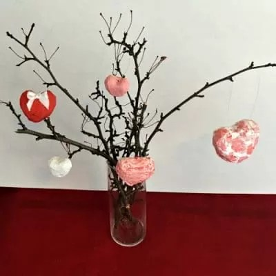 valentine's day tree with paper mache hearts
