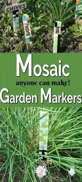 Green, black, white mosaic tile garden markers.