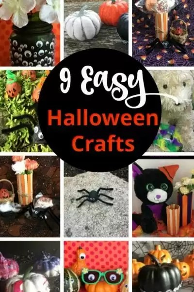 Collage of Halloween crafts with decrated pumkins, spiders, popsicle stick crafts