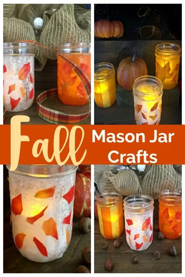 Four Fall mason jars decorated with leaves, orange and yellow and white paper.