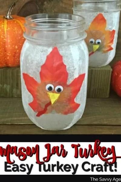 Mason Jar decorated with turkey on front of jar.