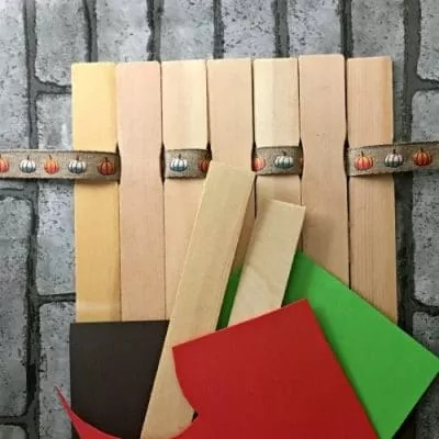 Paint sticks and orange and green foam paper.