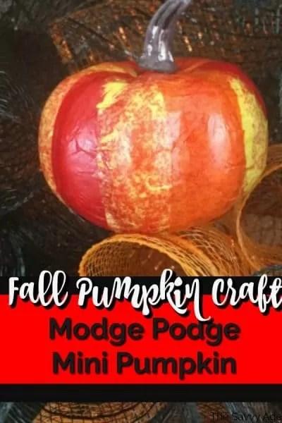 Red, yellow, orange modge podge mini pumpkin.