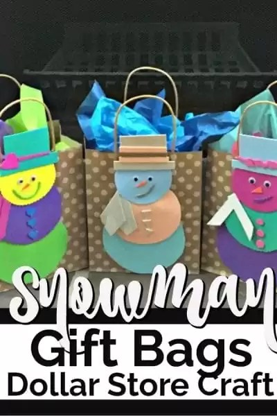 Three gift bags with handmade snowmen on the outside of the bags.