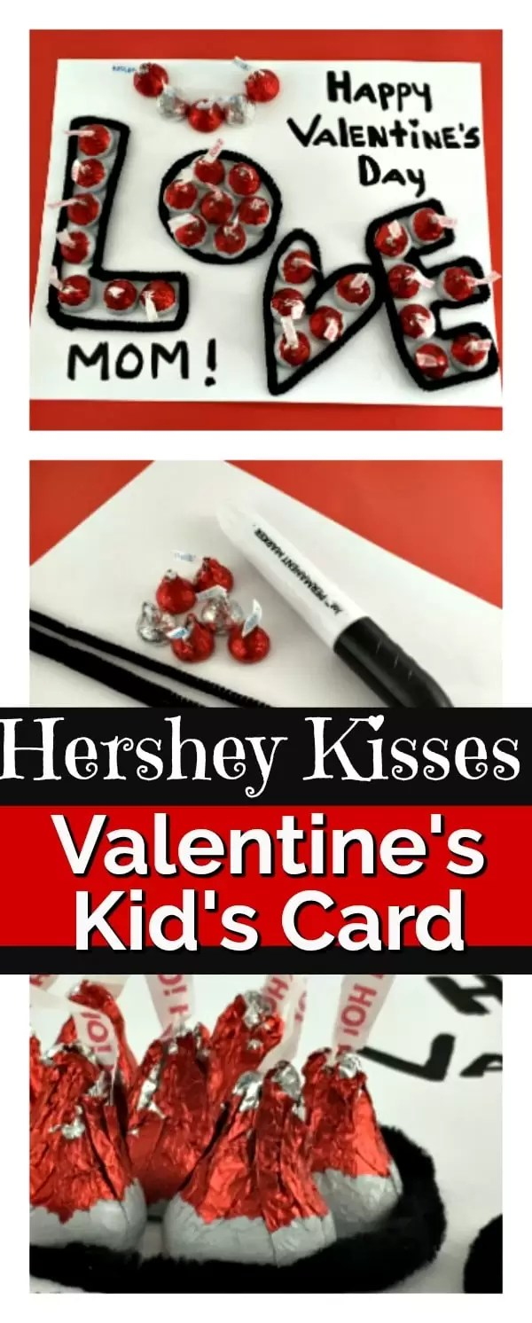 Valentine's Day card of black pipe cleaners spelling love and filled in with red and silver hershey kisses.