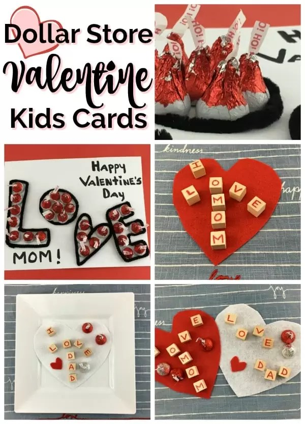 Collage of Valentine's Day cards made with red and silver Hershey Kisses: Black outlined letters of LOVE filled in with kisses, heart shaped card with wood blocks spelling I Love Mom and hershey kisses.