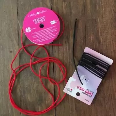 Ponytail holder elastic, red cord