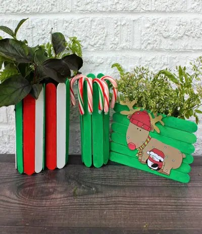 Christmas popsicle stick gifts; red, white, green popsicle stick vase and decoration with reindeer.