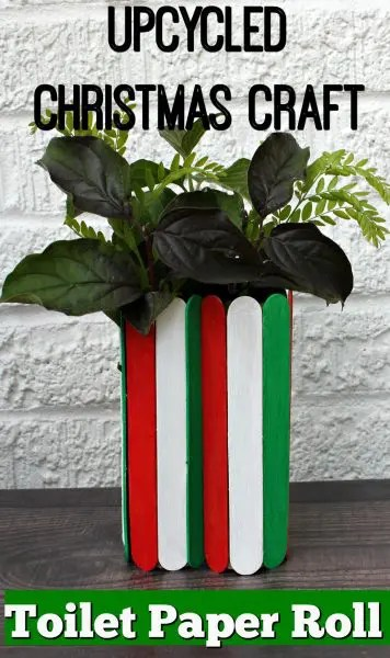Christmas vase made with red, green and white popsicle sticks on a toilet paper roll. Vase is filled with garden greens.