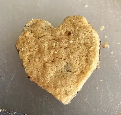 Heart shaped chocolate chip cookie.