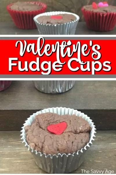 Fudge cup in a silver cupcake liner and decorated with a red candy heart.