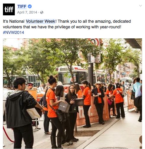 TIFF Volunteers Facebook post