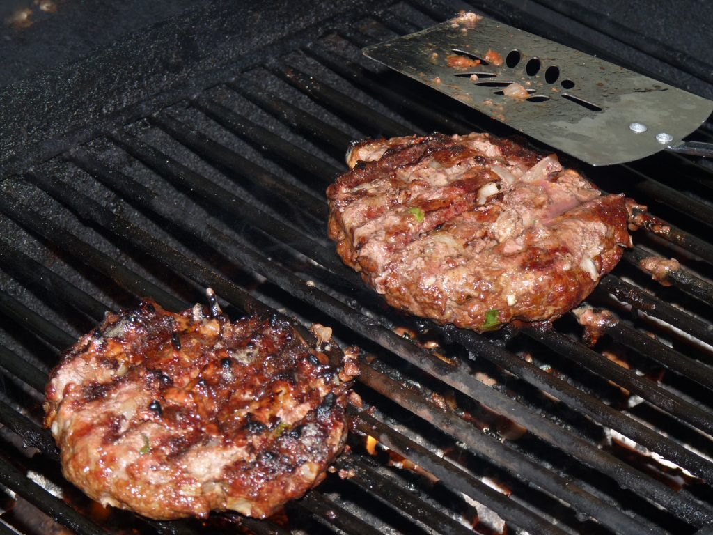 Cooking burgers on the bbq