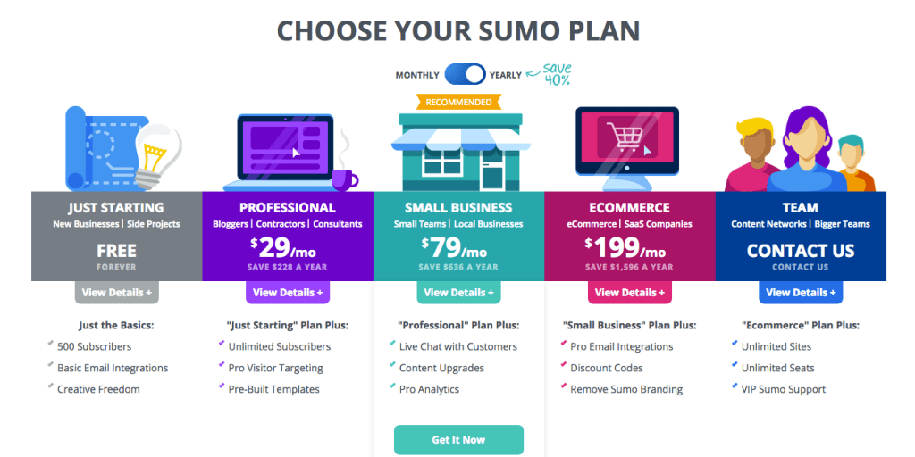 SUMO awesome blogging tool pricing plans