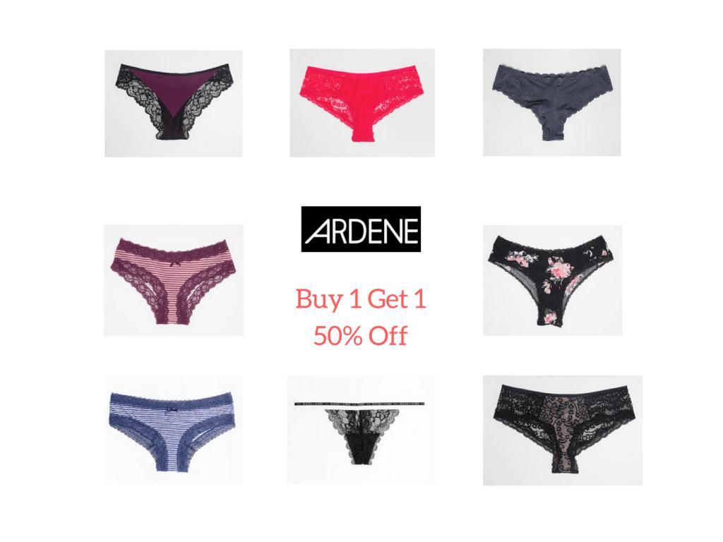 Buy 1 get 1 50% off undies sale at Ardene.com