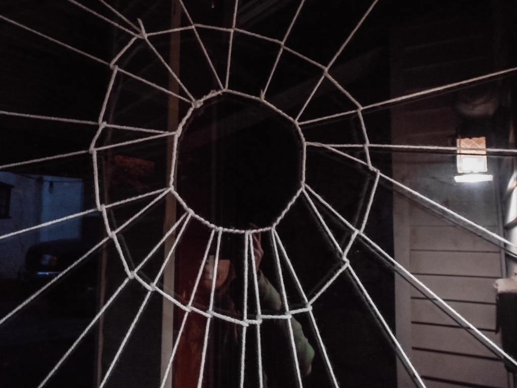 Halloween spider door close up