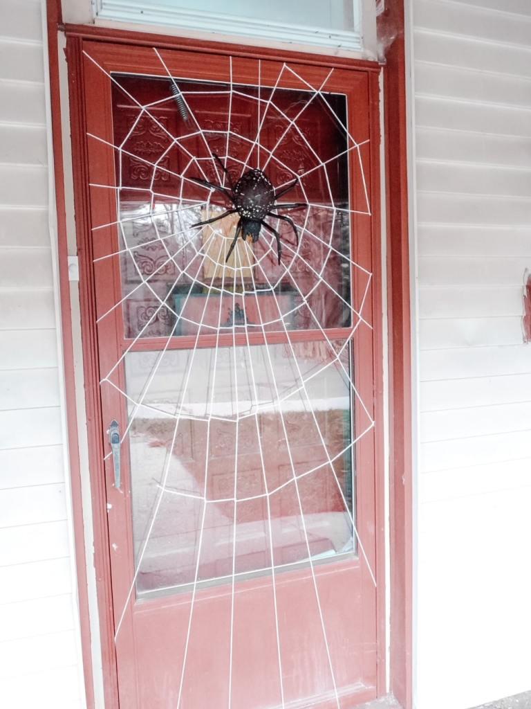 Spooky Halloween spider door decor #Halloween #decorideas #spiderwebdoor