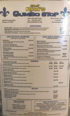 "Chef Ron's Gumbo Stop Menu Local ""Guide"" Food Review"