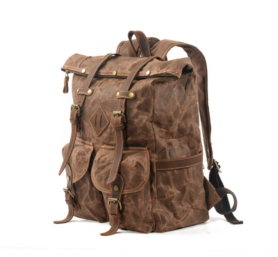 Retro Style, Waterproof, Wax Canvas Camping Backpack