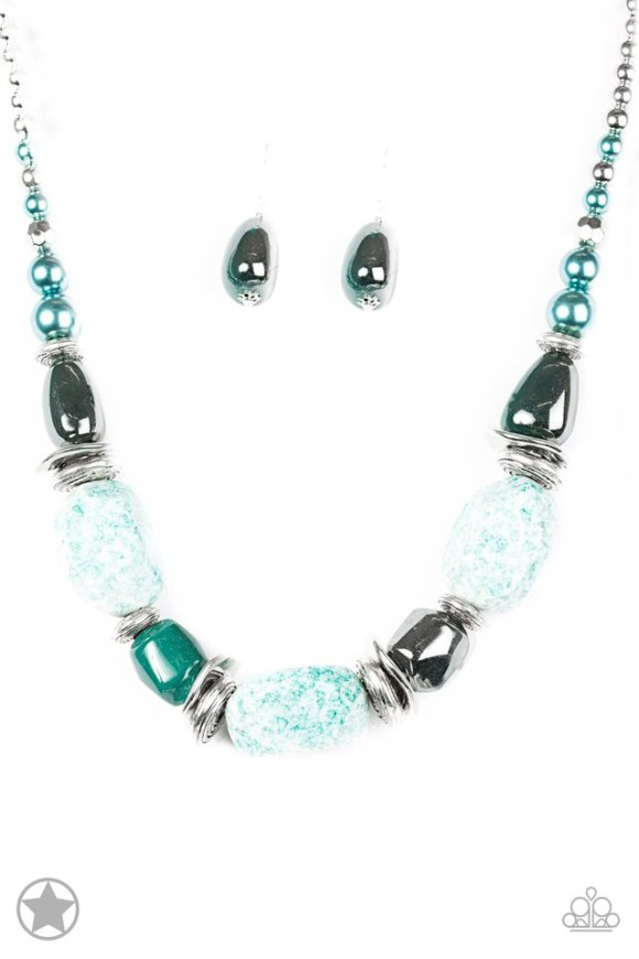 large chunky blue necklace with matching earrings