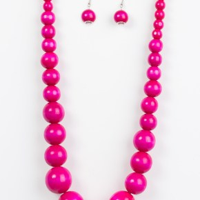 pink wooden beaded necklace and earrings