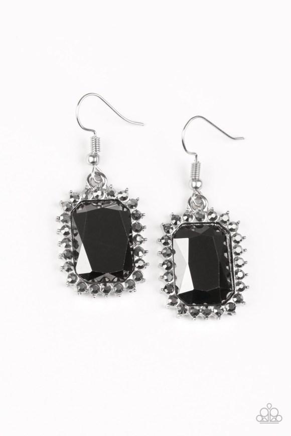 black stone with grey rhinestones rectangular shape