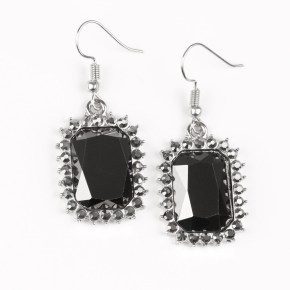 black stone with grey rhinestones rectangular shape
