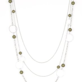 silver necklace with green beads throughout sold in yellow