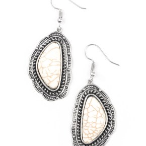 cracked appearance white stone, silver detailed outline white earrings