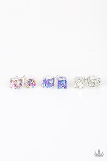 clear stud earrings shaped like a cube with various colors of glitter inside