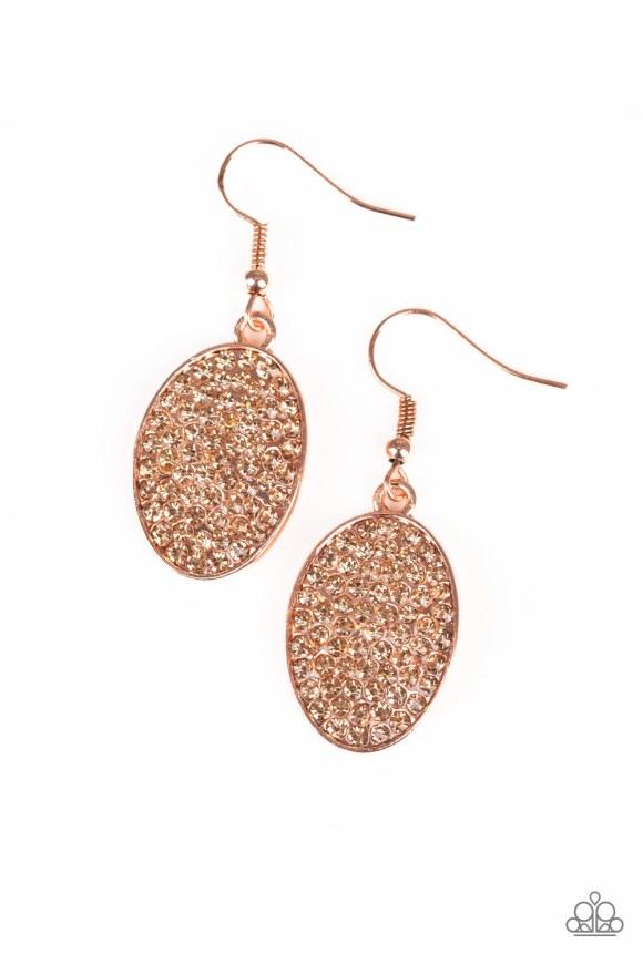 copper glittery oval shaped earrings