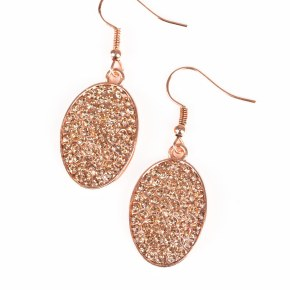 copper glittery oval shaped earrings