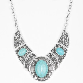turquoise studded silver statement necklace with matching earrings