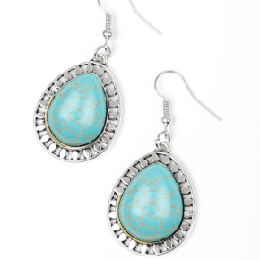 turquoise cracked appearance earrings with ornate silver outline