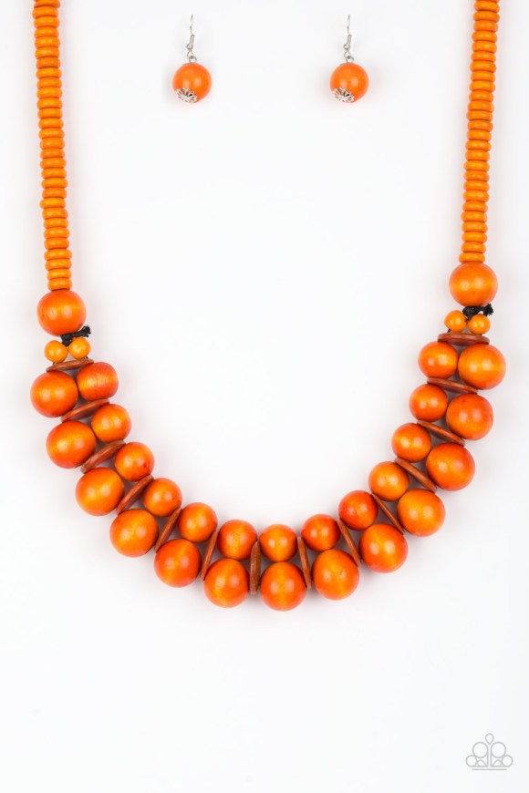 Brushed in a distressed finish, vivacious orange wooden beads and discs join below the collar for a summery look. Features a button loop closure. Sold as one individual necklace. Includes one pair of matching earrings.