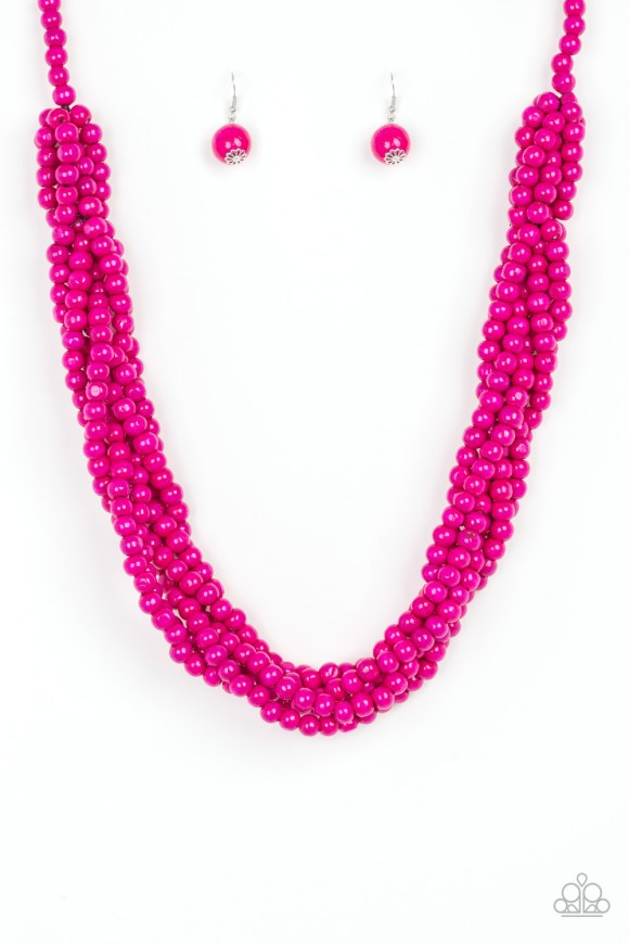 Brushed in a flirty pink finish, strands of vivacious wooden beads subtly twist across the chest for a summery look. Sold as one individual necklace. Includes one pair of matching earrings.