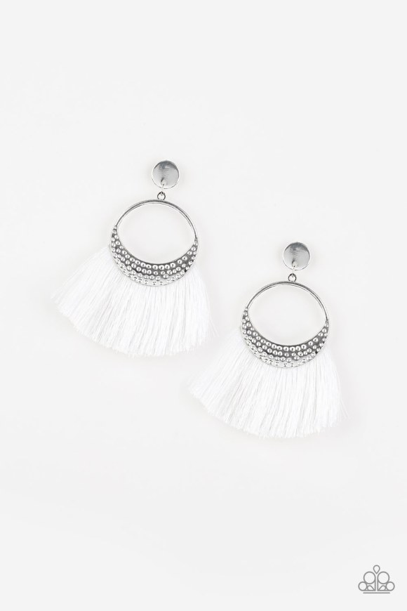 Shiny white thread flares from a hammered silver frame for a strikingly tasseled look. The spirited frame attaches to a glistening silver disc fitting for a modern twist. Earring attaches to a standard post fitting. Sold as one pair of post earrings.