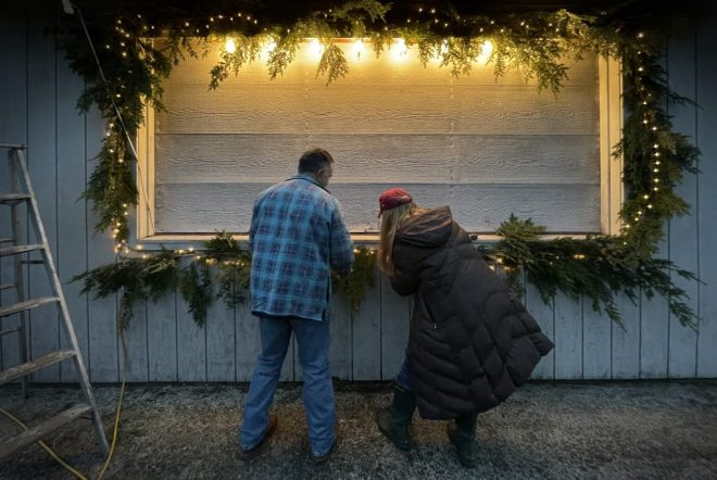 Decorating the Picnic Pavilion for Christmas.