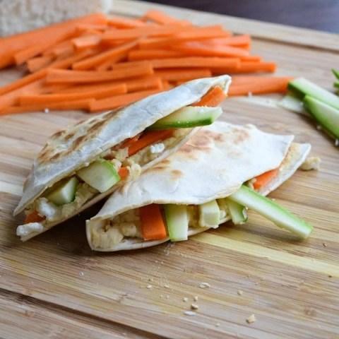 Hummus Quesadillas with Feta and Vegetables