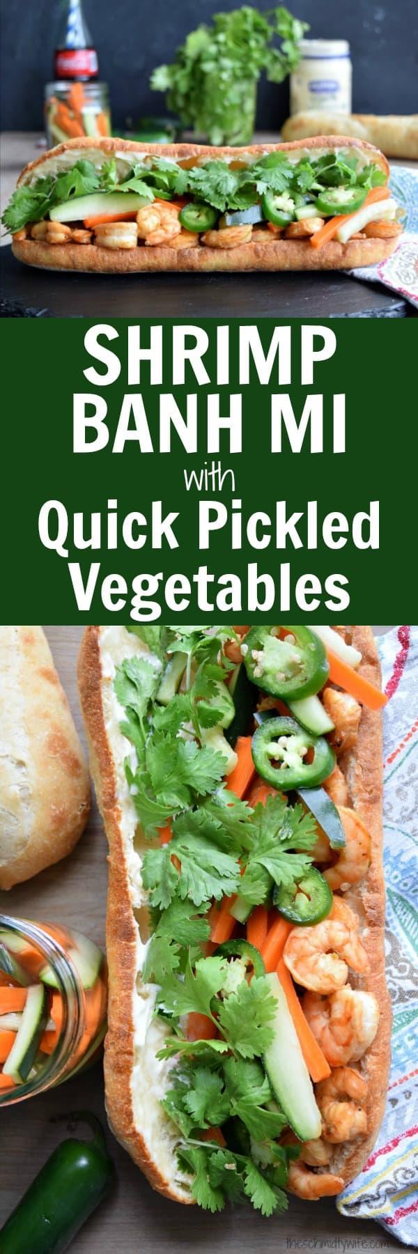 Shrimp Banh Mi with Quick Pickled Vegetables