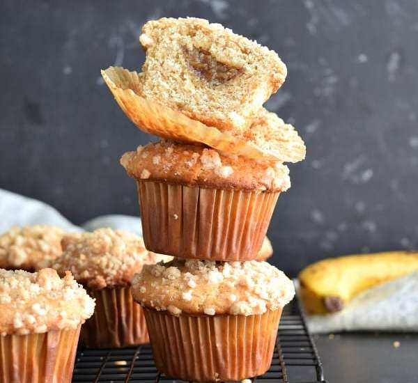 Banana Foster Filled Banana Muffins