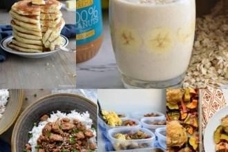 images of pancakes, banana smoothie, korean ground turkey, meal prep potato breakfast, and one pan fall dinner