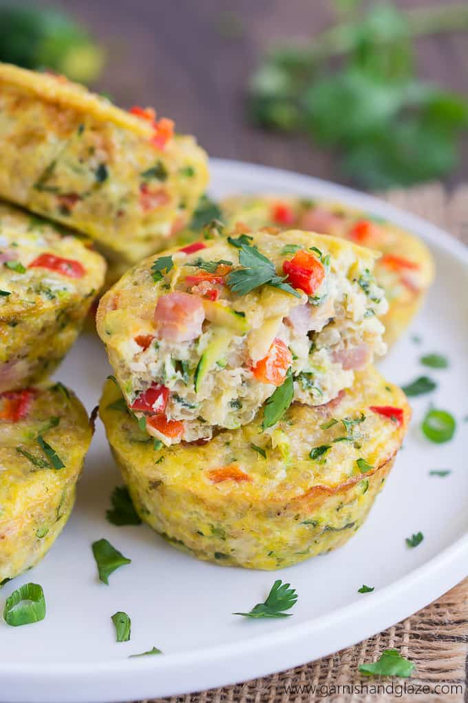healthy to go mini quinoa frittatas stacked on a plate