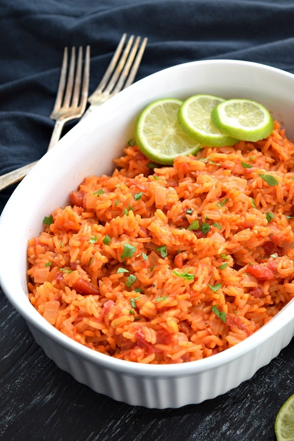 Side view of Mexican Rice in a white dish