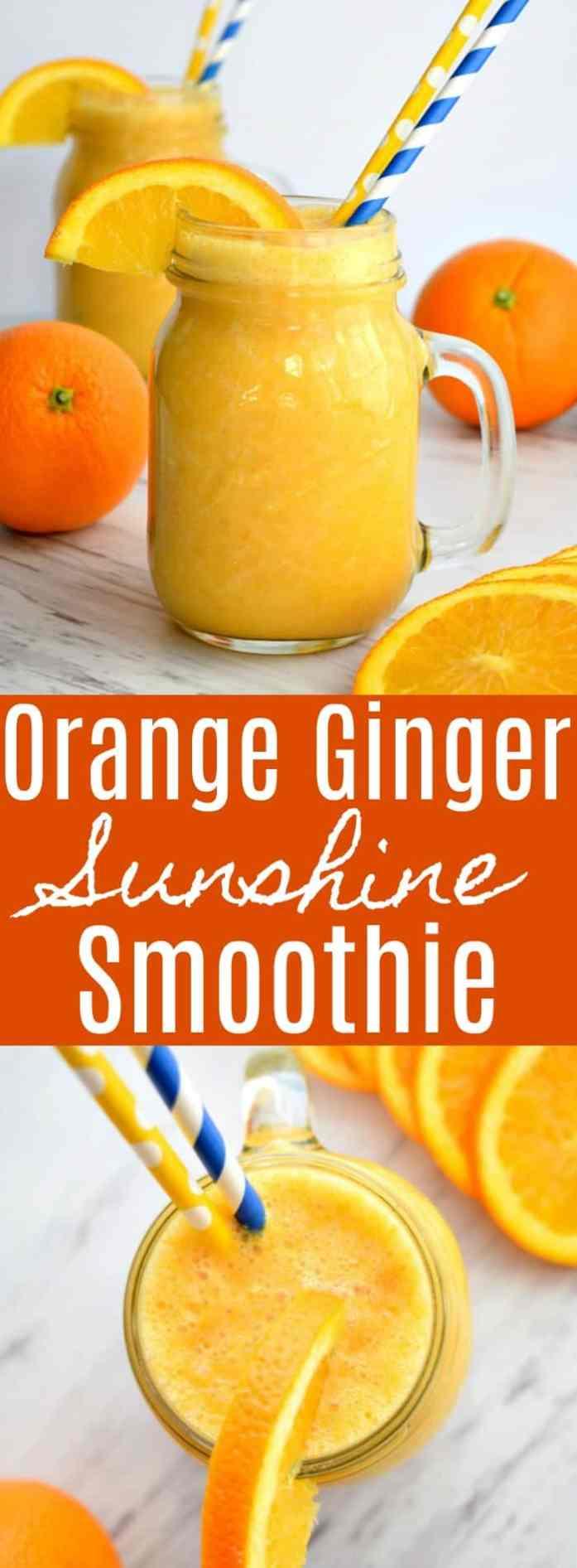 Orange Ginger Sunshine Smoothie Pinterest Pin #smoothie #snack #orange #fruitsmoothie #orangesmoothie