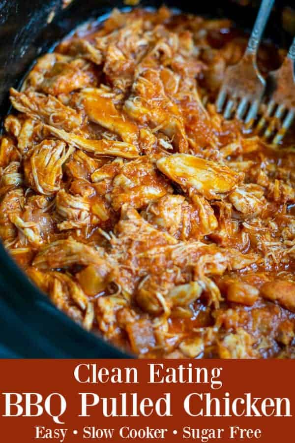 Throw out your sugary store bought BBQ sauce because this Healthy BBQ Pulled Chicken is going to blow your mind. Healthy barbecue chicken made simple in the crockpot, an easy homemade sauce replaces that sugary store bought bbq sauce perfect for BBQ pulled chicken! theschmidtywife.com #healthy #easy #thighs #shredded #crockpot #pulled #pineapple #bbqchicken #dinners