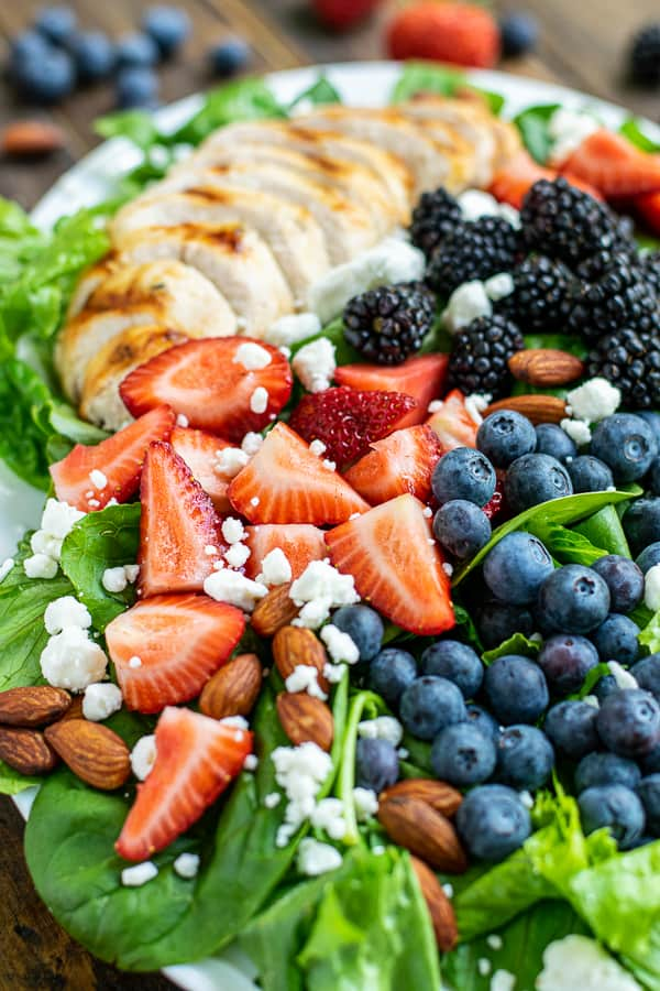 close up of all of the berries on the triple berry salad
