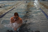 Swimmer preparing to change directions in the lane.