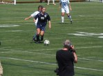 Junior Jamie Midgley clearing the ball off Stoney's half of the field.